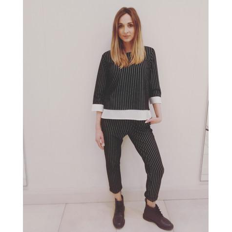 Zapara Black Pinstripe Trousers