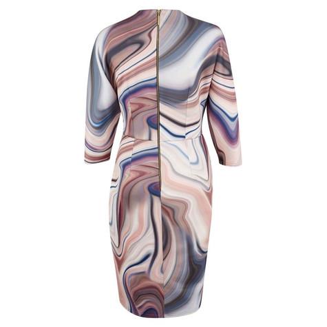 Closet Pink Marble Jersey Draped Wrap Dress