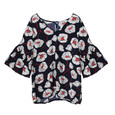 Zapara Navy Large Floral Pattern V-Neck Blouse