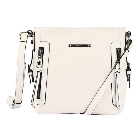 Gionni White Vertical Zip Detail Bag