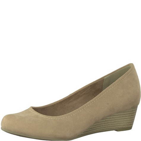 Marco Tozzi Nude Low Wedge Court Shoe