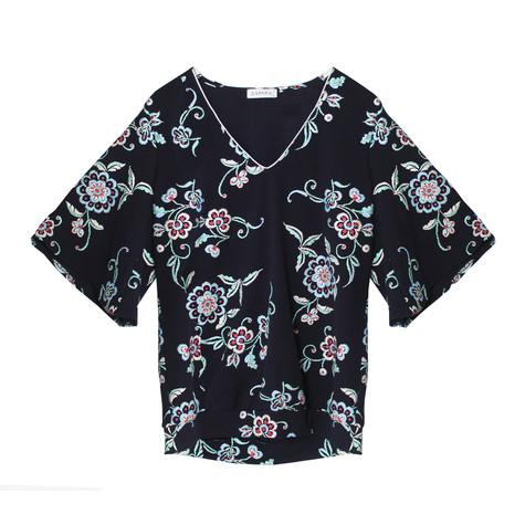 Zapara Dark Navy Floral Pattern V-Neck Top