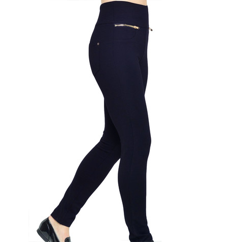 Independent C Navy Wendy Zip Detail Pocket Skinny Fit Trousers