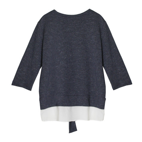 SophieB Blue Round Neck Top With a White Trim