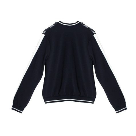 SophieB Navy Lace Zip Up Bomber Jacket