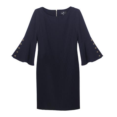 Ronni Nicole Plain Navy Round Neck Rivot Detail Dress