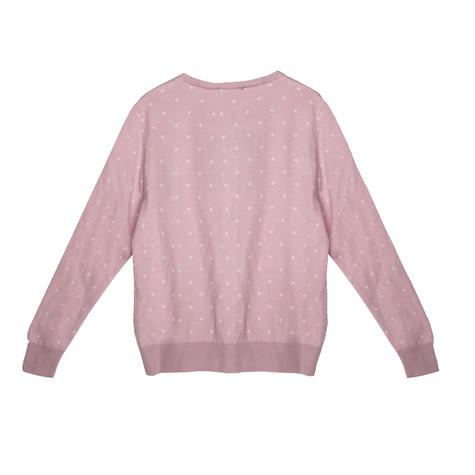 Twist White Polka Dot Light Pink Button Up Knit