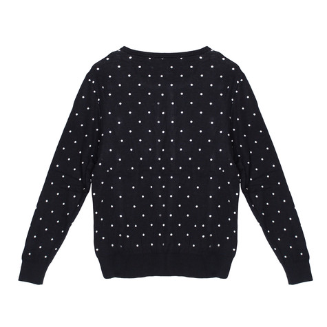 Twist White Polka Dot Navy Button Up Knit