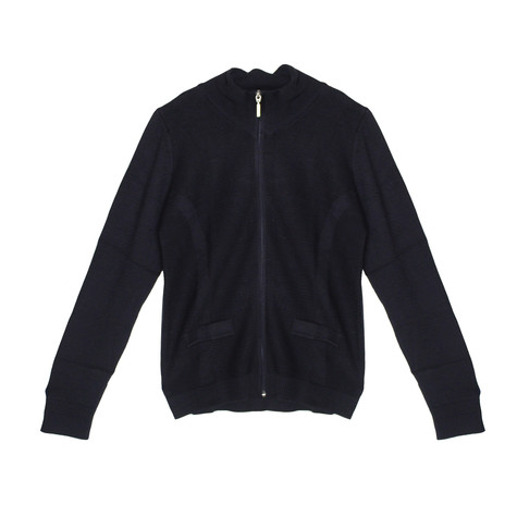 Twist Navy Zip Up Light Rib Knit