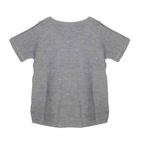 Twist Grey Shoulder Button Detail Loose Knit