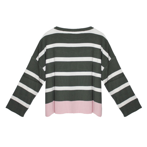 Twist Khaki, White & Off Pink Strip Knit