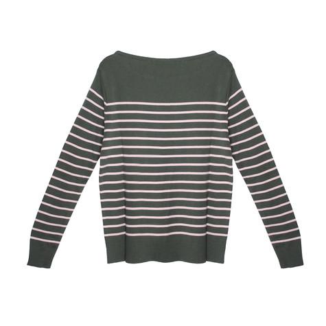 Twist Khaki & Pink Strip Long Sleeve Knit