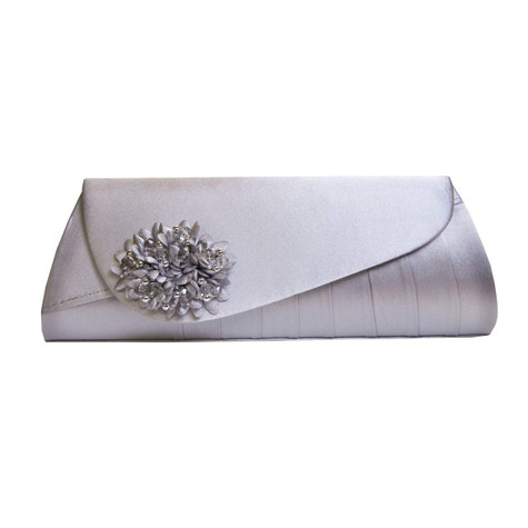 Lunar Silver Clutch With Beaded Floral Detail Bag